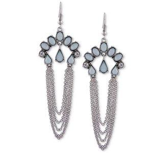 GUESS Silver Tone Multi Stone & Chain Drop Earring